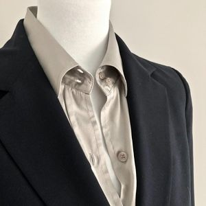 Silk Blouse Bodysuit, Cuff Long Sleeves, Silver, S